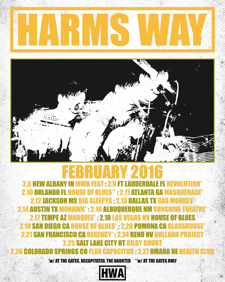 Harm's Way To Tour US in February 2016